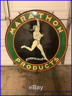 Rare Original 48 Inch Marathon Double Sided Porcelain Sign