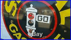 Rare Original 6' Signal Gasoline Porcelain Sign Oil Gas Station Red Stop Light
