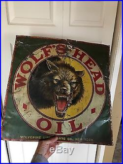 Rare Original Early Wolfs Head Oil Tin Sign 1920's Not Porcelain Gas Pump Can