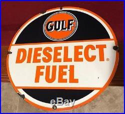 Rare Original Gulf Dieselect Porcelain Pump Plate Sign Gas Oil