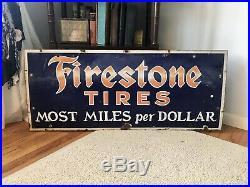 Rare Original Large Firestone Tires Gas Station 48 Porcelain Metal Sign 1930s