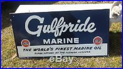 Rare Original NOS Gulf Gulfpride Marine Aluminum Fence sign porcelain gas oil