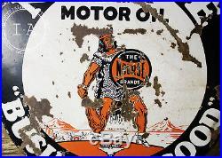Rare Porcelain Enamel Nourse Motor Oil 28 Advertising Sign Two-Sided