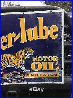 Rare! Powerlube Power-lube penn Pennsylvania Oil Gas Porcelain Sign A++