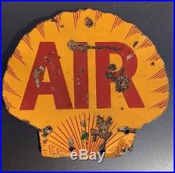 Rare Shell Air Double Sided Porcelain Gas Station Sign Eco Tireflator Tire Meter