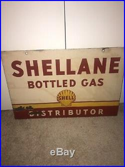 Rare Shellane Bottled Gas Shell Distributor Double Sided Porcelain Sign