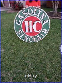 Rare Sinclair HC Gasolina Porcelain Sign 1955 Made In USA