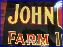 Rare Sought After Old John Deere Farm Implements Porcelain Sign 1 Sided