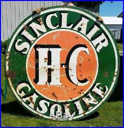Rare VTG Sinclair H-C Gasoline 2 Sided Porcelain 72 Sign or New 18' Banjo Pole