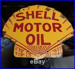 Rare Vintage 1920's Shell Motor Oil 2 Sided 25 Porcelain Metal Sign ORIGINAL