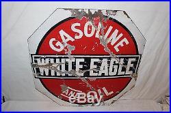 Rare Vintage 1920's White Eagle Gasoline & Oil 2 Sided 28 Porcelain Metal Sign