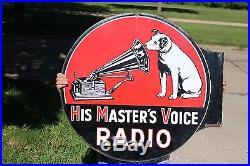 Rare Vintage 1930s HMS Radios 2 Side 30 Porcelain Flange Victor Phonograph Sign