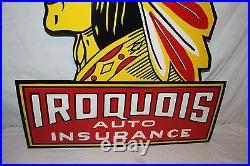 Rare Vintage 1940's Iroquois Auto Insurance Gas Oil 42 Porcelain Metal Sign