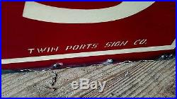 Rare Vintage Neon Porcelain Fishing Sign Marine Sales Boat Motor Gas Oil 2 Cycle