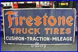 Rare Vintage Original Firestone Truck Tires Porcelain Sign No Reserve