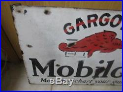 Rare Vintage Original Mobil Early Pegasus Motor Oil Porcelain Flange Sign