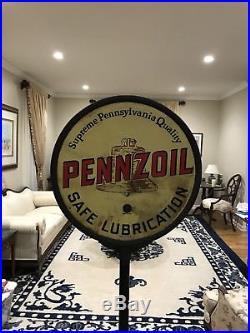 Rare Vintage Original Pennzoil Double Sided Porcelain Lollipop Sign