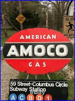 Rare Vintage Original Porcelain Gas Oil Advertising Sign AMOCO American Gas SHIP