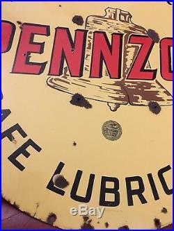 Rare Vintage Original Sign Pennzoil Double Sided Porcelain Lollipop Brown Bell