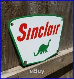 Rare Vintage Original Sinclair Dino 8.5 X 12 Porcelain Enamel Truck Pump Plate