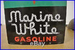 Rare Vintage Original Texaco Marine White Porcelain Gas Pump Plate Sign No Reser