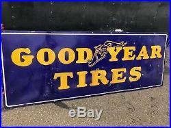 Rare Vintage Porcelain Goodyear Tires Sign Advertising Gas Oil Station 7 ft3ftqÀ