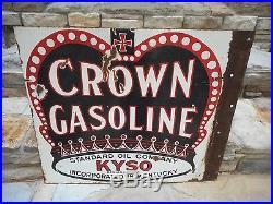 Rare Vintage Red Crown Gasoline Standard Oil Double Sided Porcelain Flange Sign