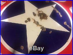 Rare White Star Gasoline/ Motor Oil Double Sided Porcelain Sign