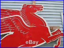 Rare huge 9' Mobil Pegasus Porcelain Cookie Cutter Sign Horse Facing Right