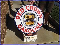 Red Crown Gasoline 30 Double Sided Porcelain sign