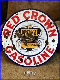 Red Crown Gasoline Ethyl 30 Porcelain sign