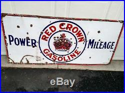 Red Crown Gasoline Power Mileage Single Side Porcelain Sign 60