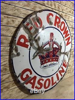 Red Crown Gasoline Sign Porcelain Original 42