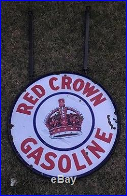 Red Crown Original Double Sided Porcelain 30 Sign Oil And Gas NO RESERVE