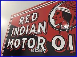 Red Indian Motor Oil Porcelain Flange Sign, Thick Steel, Service, Gasoline, Gas