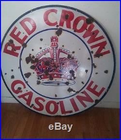 Red crown porcelain sign 42 dsp original sign