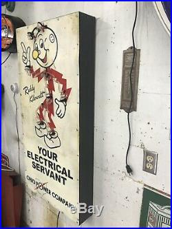 Reddy Kilowatt Neon Tin Sign, not porcelain, gas and oil, Chevrolet and Ford
