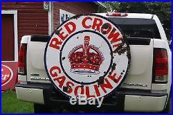 SCARCE 1920's 42 STANDARD RED CROWN GASOLINE MOTOR OIL PORCELAIN SIGN GAS OIL