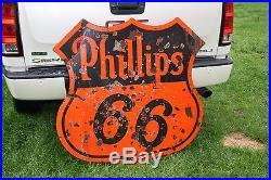 SCARCE 1930's 46 PHILLIPS 66 2-SIDED GASOLINE MOTOR OIL PORCELAIN SIGN GAS
