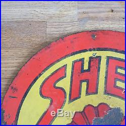 SHELL GAS & OIL PORCELAIN GAS STATION SIGN from 1920-1930 DOUBLE SIDED