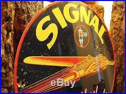 SIGNAL Ethyl Gasoline Motor Oil porcelain gas pump plate lubester sign AMAZING