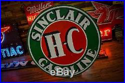 SINCLAIR HC GASOLINE PORCELAIN 72 ROUND SIGN 2 Sided Gas Oil Station WILL SHIP