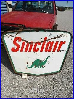 SINCLAIR vintage 2 sided porcelain sign with pole, 50's/60's Complete package NR