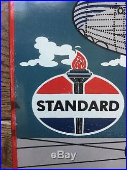 STANDARD AVIATION GAS AND OIL PORCELAIN SIGN 16.5x11