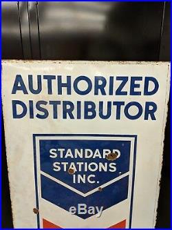 STANDARD STATIONS INC. Service station gas oil porcelain sign. ORIGINAL