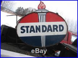 STANDARD oil gas Double Sided Porcelain vintage 5ft long sign american