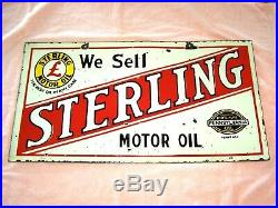STERLING MOTOR OIL VINTAGE TWO SIDED PORCELAIN SIGN Automobile Collectible
