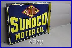 Sunoco Motor Oil Porcelain Flange 2-sided Sun Oils Gas Service Station Car Ih