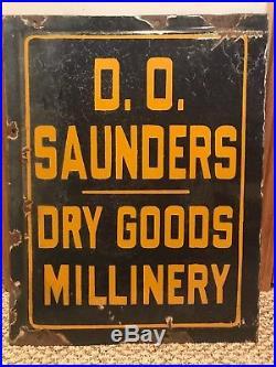 Saunders Dry Goods Millinery porcelain Sign vintage antique rare store old