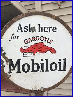 Scarce Mobil Oil Gargoyle Porcelain Double-Sided Lollipop Sign with Base Wadhams